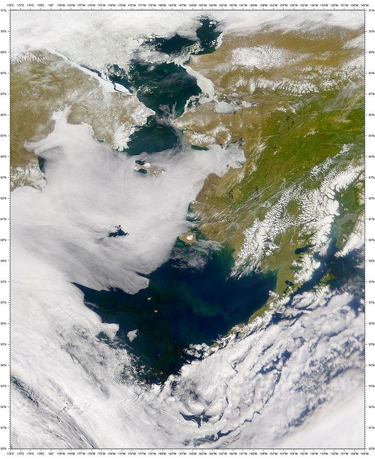 Satellite photo of the Bering Sea u2013