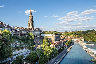 Bern - The Old City of Bern with the Minster and its platform above the lower Matte quarter and the Aare