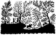 """Scherenschnitt """"Jagdszene"""" von Bettina von Arnim (Quelle: Wikimedia)"""