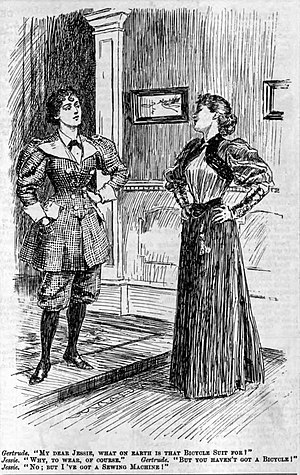 Cycling UK - 1895 cartoon contrasting the bicycle suit (left) vs. conventional feminine attire (right)