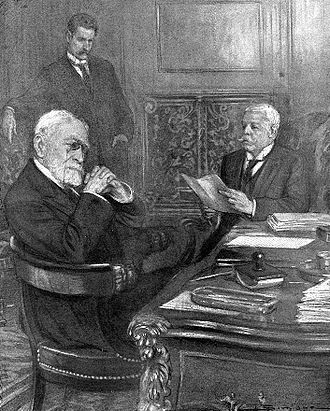 "Jean-Baptiste Bienvenu-Martin - Jean-Baptiste Bienvenu-Martin, Philippe Berthelot and Wilhelm von Schoen. Baron von Schoen reads to M. Bienvenu-Martin, who is assuring interim for Foreign Affairs, a communication from his government backing Austria and declaring that is the conflict does not remain localised, ""the most serious consequences"" are to be feared."