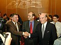 Bill Daley meets with Israeli Minister of Trade and Commerce, Ran Cohen and Palestinian Minister of Economy and Trade, Maher Masri.jpg