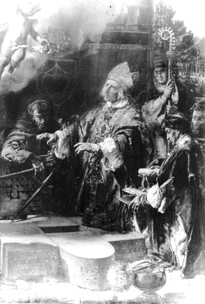 Iwo Odrowąż - ,Bishop Iwo Odrowąż devotes foundation stone of the church in Iwonicz in 1226', by Jan Matejko