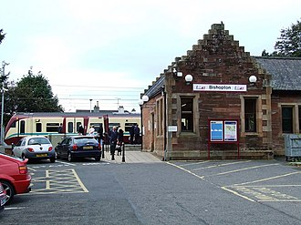 Bishopton railway station - Bishopton station viewed from Station Road. The train is bound for Glasgow Central.
