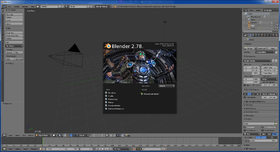 Interface de Blender 2.78a au lancement