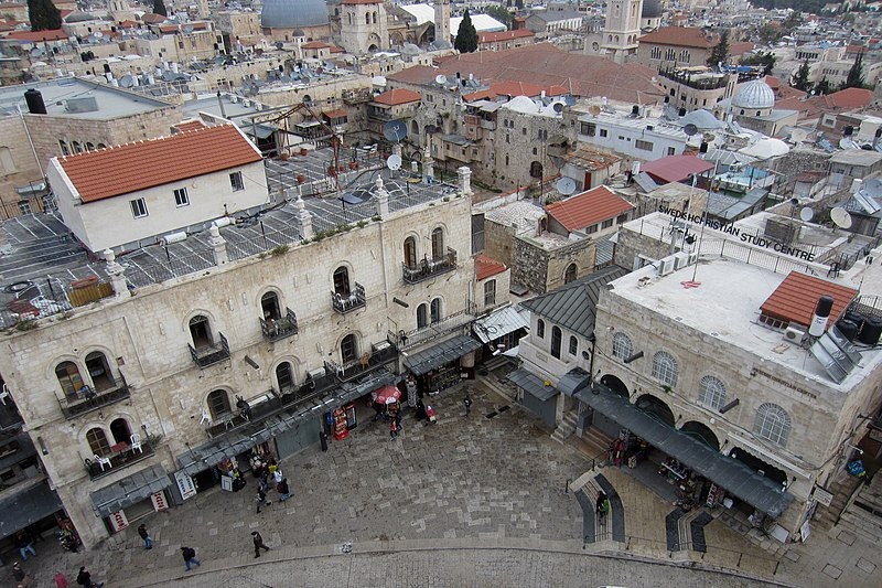 File:Blick von oben auf den Omar Ibn-al-Khattab-Platz beim Jaffator - panoramio.jpg