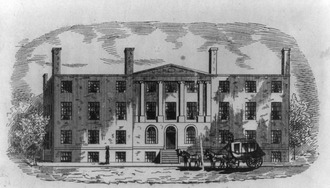 The Blodget Hotel which housed the US Patent Office; spared during the burning of Washington in 1814. The Patent Office later burned in 1836. Blodget's Hotel, built 1793.tif