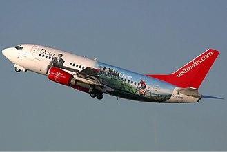 Visit Wales - Visit Wales being advertised on a Bmibaby  Boeing 737-500 logojet.