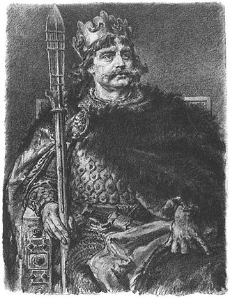 Peace of Bautzen - Bolesław I of Poland in a drawing by Jan Matejko