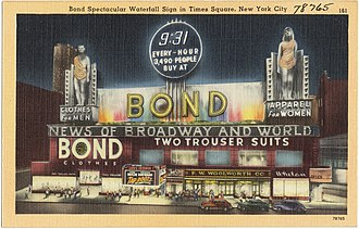 Bond Clothing Stores - Sign at night, seen on a postcard.