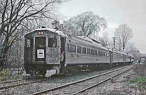 Boston and Maine RDC 6127 on Railroad Enthusiasts fantrip at West Peabody, April 27, 1969.jpg