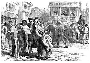 "Loyal Nine - ""Bostonians Reading the Stamp Act."" From Stranger's Illustrated Guide to Boston and Its Suburbs by J. H. Stark, 1882."