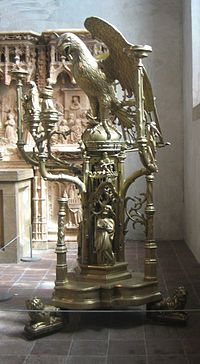 Brass lectern in the form of an eagle attributed to Aert van Tricht the Elder, Limburg (Netherlands), c. 1500, The Cloisters.jpg