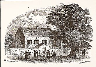 Brentwood School, Essex - Brentwood School and the Martyr's Elm, 1847