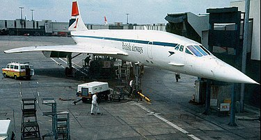 British Airways Concorde in early BA livery at London-Heathrow Airport, in the early 1980s British Concorde.jpg