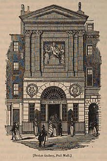 Engraving of a building designed in the classical style, with pilasters, a pediment, and a statue on the top section, and a rounded arch over the doorway on the lower.
