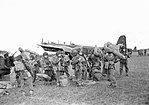 British airborne troops who have just disembarked from Stirling aircraft at Gardermoen airfield near Oslo, 11 May 1945. CL2629.jpg