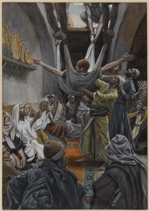 The Palsied Man Let Down through the Roof, a painting by James Tissot from the Brooklyn Museum