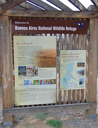 Buenos Aires National Wildlife Refuge - Welcome sign at the Arivaca Creek trailhead.