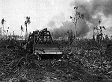 Amerykanie podczas kampanii na Pacyfiku często używali ciężkiego sprzętu budowlanego do oczyszczania terenu i budowy lotnisk.