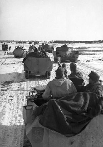 Battle of the Korsun–Cherkassy Pocket - The relief attempt begins. Tanks and halftracks of 1st Panzer Division begin movements towards the pocket, early February 1944