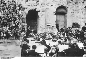 Odeon of Herodes Atticus - Herbert von Karajan and the Orchestra of the Athens Conservatory (later to become the Athens State Orchestra) at the Odeon of Herodes Atticus (1939)