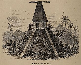 Culture of Fiji - A bure kalou, a sketch done in the early 1800s