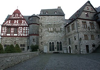 Limburg an der Lahn - The oldest preserved section of the Limburger Schloss, seen from the courtyard