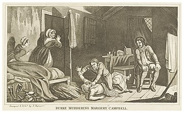 An 1829 illustration of British serial killer William Burke murdering Margery Campbell. Burke Murdering Margery Campbell.jpg