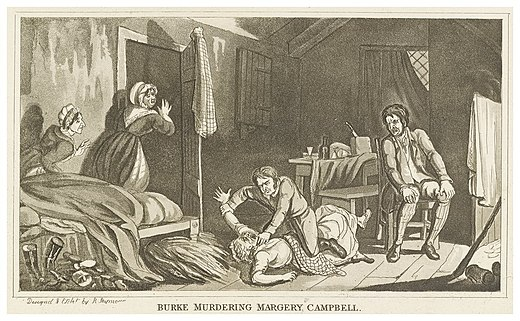 Idealised etching of Burke murdering Margaret Docherty (also known as Margery Campbell) by Robert Seymour Burke Murdering Margery Campbell.jpg