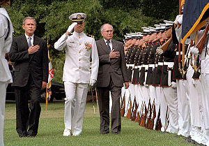 ANZUS - Australian Prime Minister John Howard and US President George W. Bush on September 10th 2001. Howard was in Washington during the September 11 attacks.