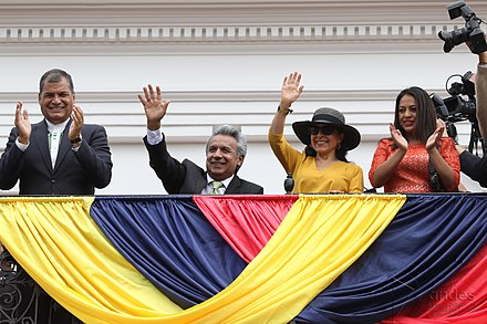 President Lenin Moreno, first lady Rocio Gonzalez Navas and his predecessor Rafael Correa, 3 April 2017 CAMBIO DE GUARDIA.jpg