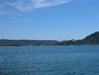Erlach, Switzerland - View of Erlach from across Lake Biel. Both the castle and Jolimont mountain are visible toward the right side