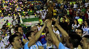 2015 Copa América de Futsal - Argentina celebrating winning the trophy.