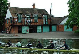 Caius Boat Club - Caius M1 outside their boathouse during Mays 2012.