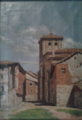 Calle con casas, oil on canvas, 1883, by Mariano Pedrero.png