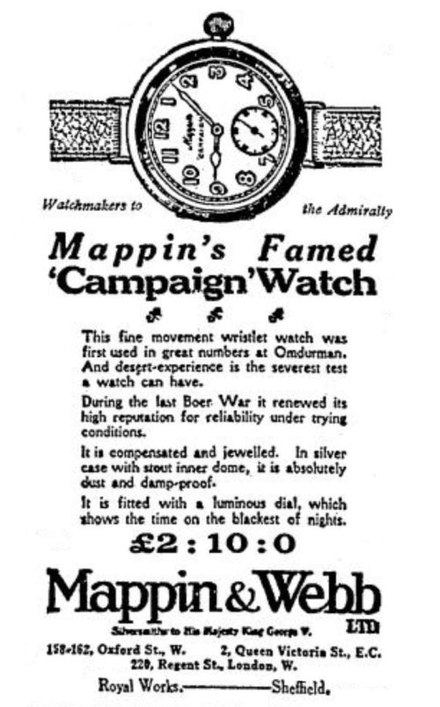 Mappin & Webb's wristwatch, advertised as having been in production since 1898. Campaign Watch 1915.jpg
