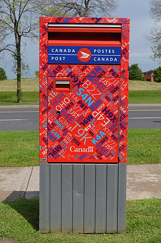 Canada Post - New kaleidoscope pattern mailbox with the Canada Post brand.