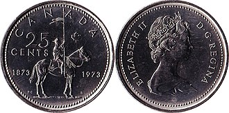 Quarter (Canadian coin) - Image: Canada $0.25 1973