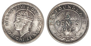 Newfoundland five cents - Image: Canada Newfoundland George VI 5 Cents 1941C