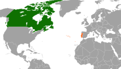 Map indicating locations of Canada and Portugal