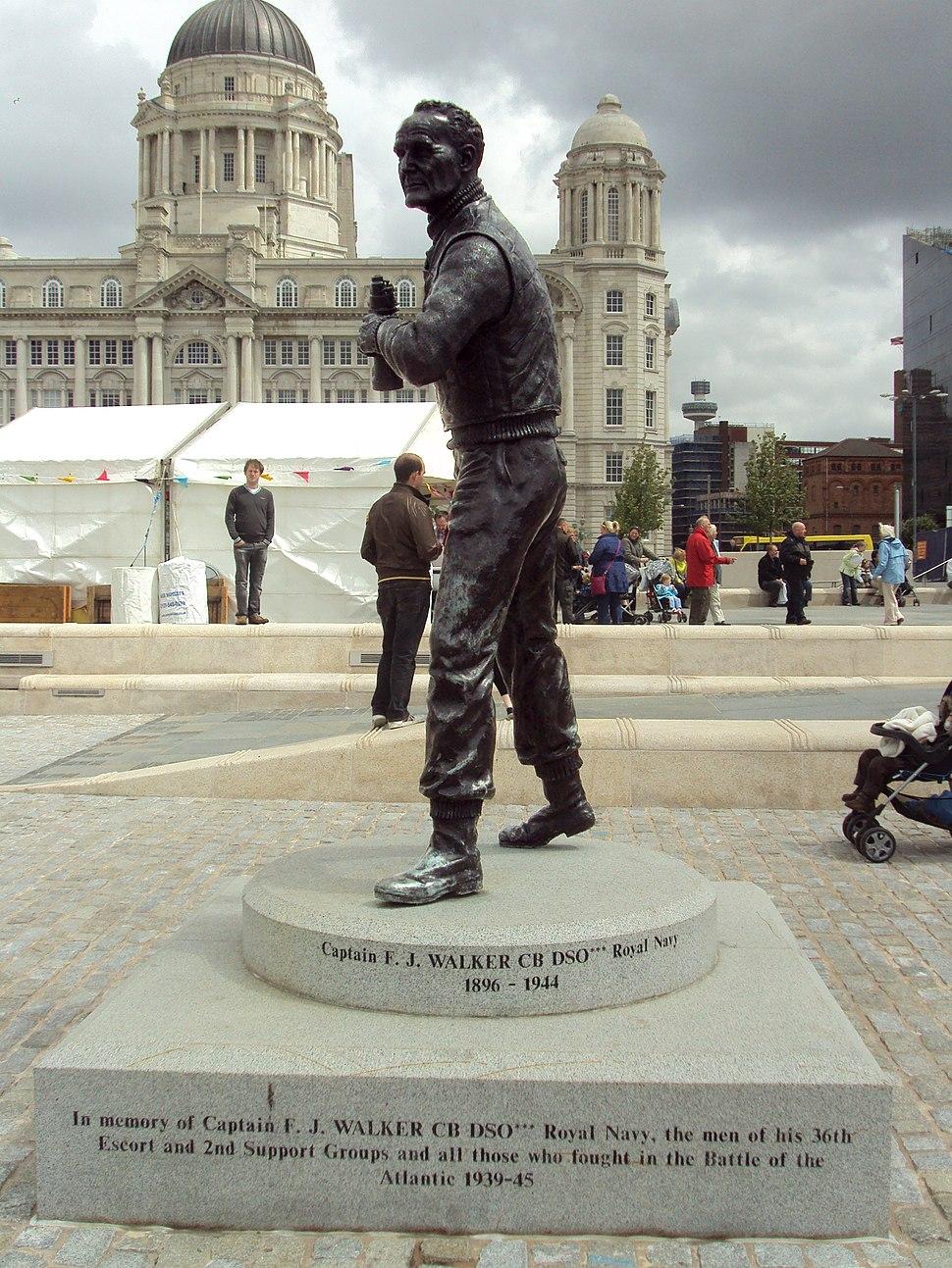 Captain F.J.Walker statue, Pier Head, Liverpool - DSC06818