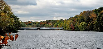 Lake Carnegie (New Jersey) - The lake, with Princeton University's Cleveland Tower in the background