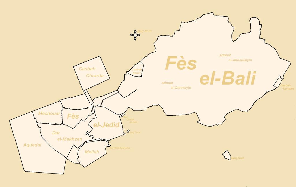 Carte des enceintes et des fortifications de Fès, Maroc. Photo de Omar-toons
