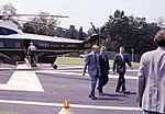 Carter departing Marine One at CIA HQ with DCI Turner and National Security Advisor, Zbigniew Brzezinski, August 16, 1978 (10729544644).jpg