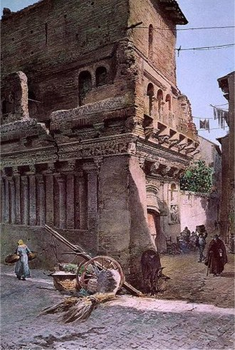 Cola di Rienzo - The so-called Casa di Rienzi still in its urban context before the opening of the Via del Mare in a watercolour by Ettore Roesler Franz (about 1880).