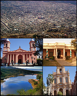 (Frae tap tae bottom; frae left tae richt) Aerial view o the ceety; Oor Lady o the Valley o Catamarca Cathedral; San Fernando del Valle de Catamarca Heestorical Museum; El Jumeal reservoir an the San Francisco Kirk.