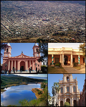San Fernando del Valle de Catamarca - (From top to bottom; from left to right) Aerial view of the city; Our Lady of the Valley of Catamarca Cathedral; San Fernando del Valle de Catamarca Historical Museum; El Jumeal reservoir and the San Francisco Church.