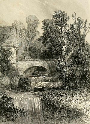George Cattermole - Warwick Castle (1834 engraving by J C Bentley after Cattermole)