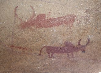 Tharia Cave Paintings - Tharia Cave Paintings: Humped Bulls